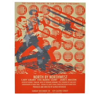 "Castro Theater Pop Art ""North by Northwest"" Silkscreen Movie Poster"