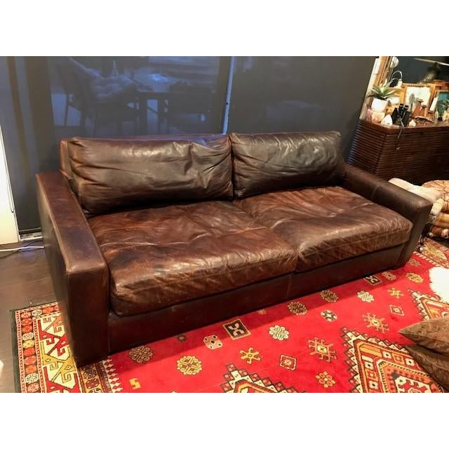 Restoration Hardware Leather Maxwell Sofa Chairish