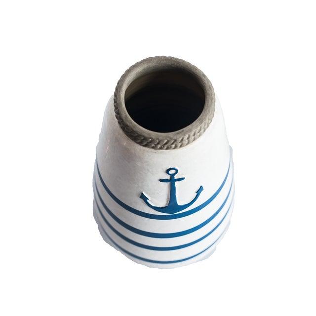 Image of Navy Blue/White Nautical Anchor Vase