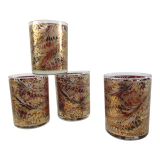 Gold Feather Lowball Glasses - Set of 4