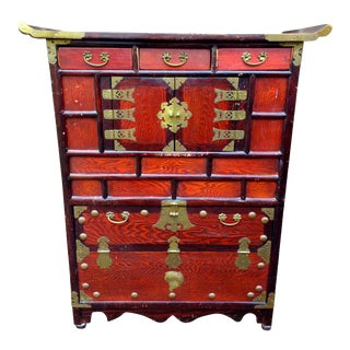 Antique Red Asian Cabinet
