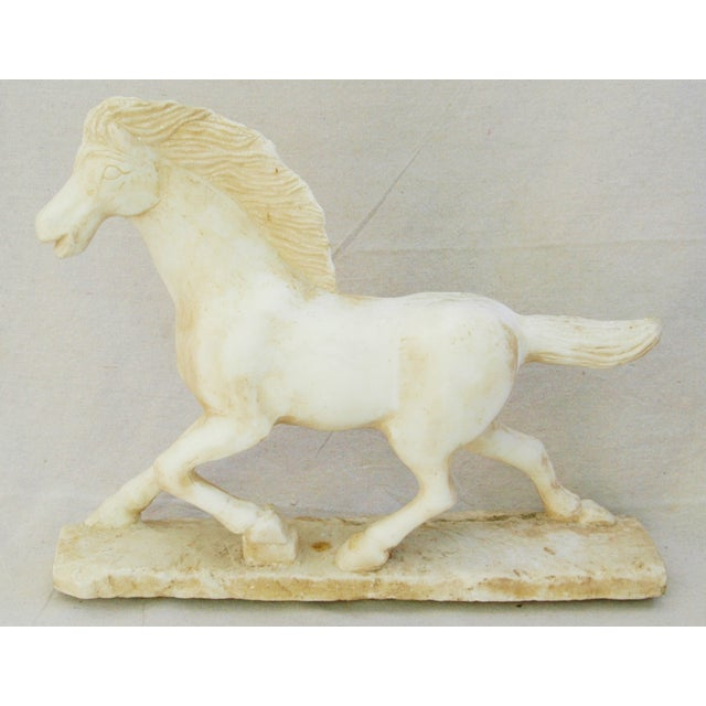Image of 1940's Carved Marble Horse Statue