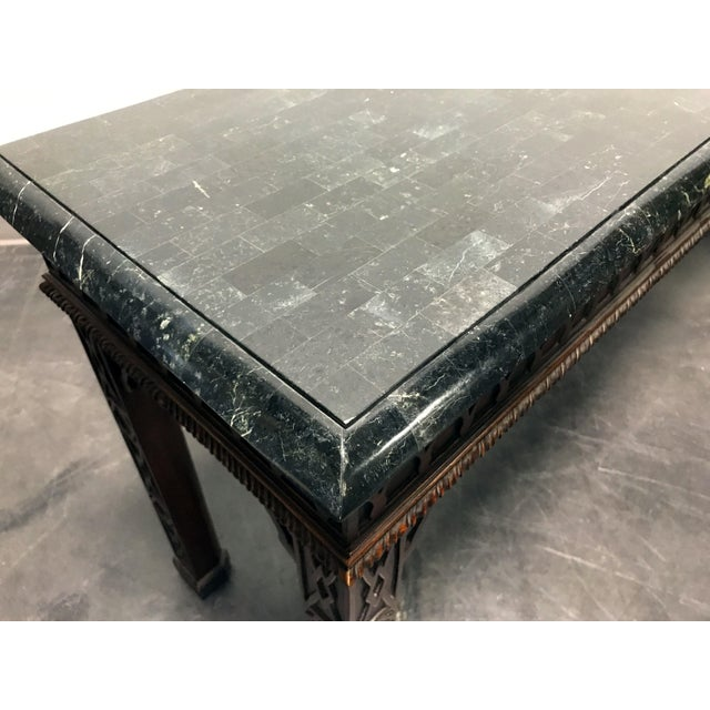 Vintage Carved Mahogany & Tessellated Marble Sofa Table attr to Maitland Smith - Image 10 of 11