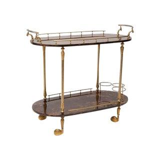 Aldo Tura Lacquered Goatskin Bar Cart