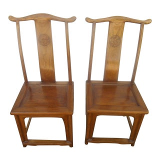 Asian Inspired Yoke Dining Chairs - A Pair