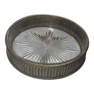 Vintage Mid-Century Silver Plated Cut Glass Ashtray