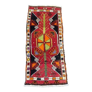 "Vintage Anatolian Red Rug - 1'8"" x 3'8"""