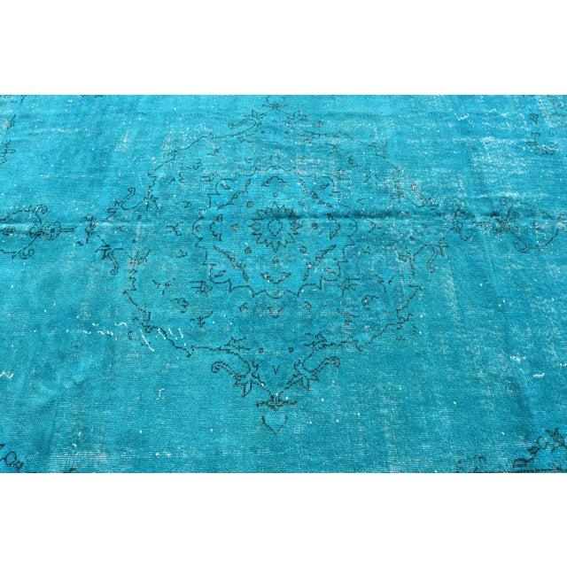 Turquoise Overdyed Vintage Oushak Rug - 6′8″ × 10′6″ - Image 4 of 6
