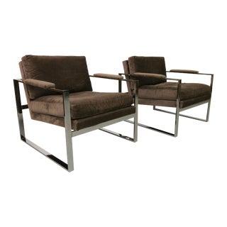 Baughman Chrome Mid Century Lounge Chairs - Pair