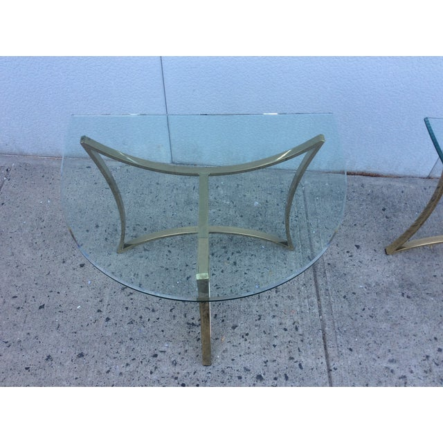 1970's Modern Demi Lune Brass Side Tables - Image 11 of 11