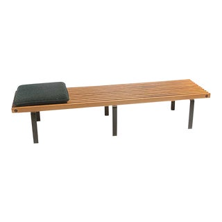 George Nelson Style Wood Slat Bench