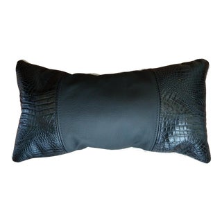 Black Croc Real Leather Pillow