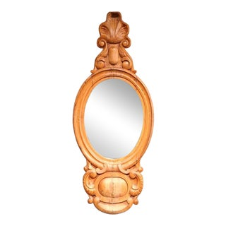 19th Century English Carved Light Pine Wall Mirror