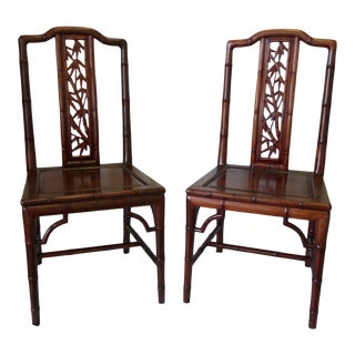 Carved Rosewood Bamboo Motif Chairs-Pair