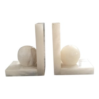 Mid-Century Modernist Spheres Alabaster Bookends - a Pair