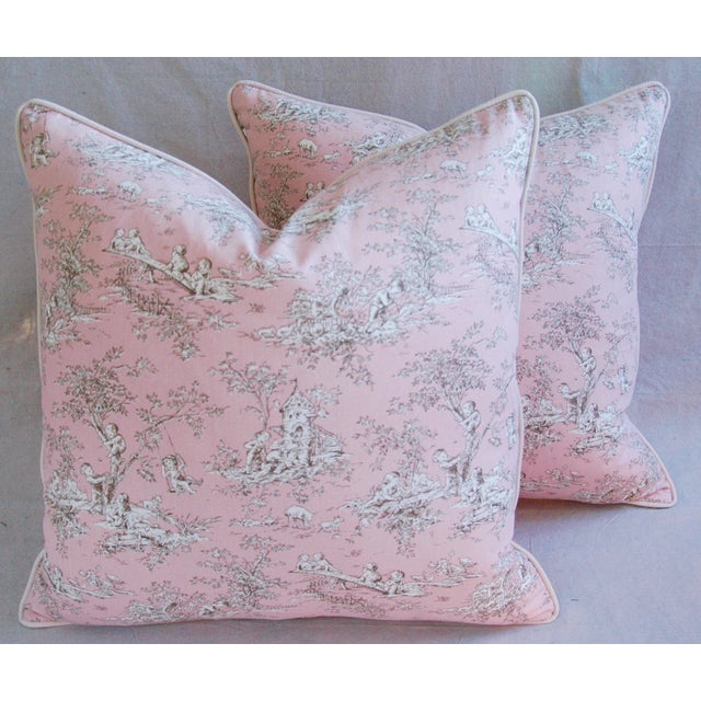 Desinger French Pink Toile & Velvet Pillows - Pair - Image 8 of 11