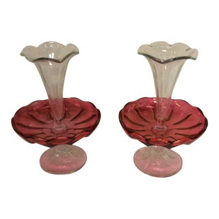 Antique Cranberry Glass Epergne Vases- A Pair