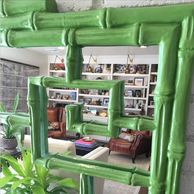 Green Faux Bamboo Mirror - Image 5 of 5