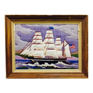 Vintage Framed Hand Threaded Nautical Ships Scene