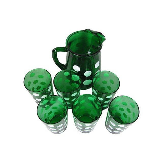 Image of Emerald Green & White Polka Dot Beverage Set - S/7