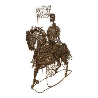 Copper Wire Horse & Rider Art