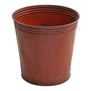 Orange-Red Metal Waste Bin or Planter