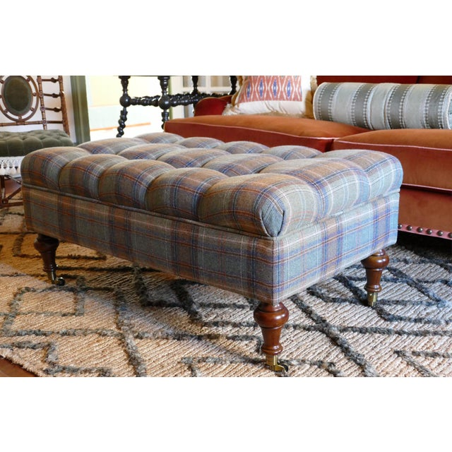 Custom Rogers & Goffigon-fabric Tufted Storage Ottoman - Image 5 of 5