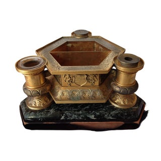 Late 19th C. Gilt & Marble Inkwell