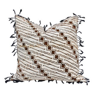 Vintage Batik Pillow with Fringe