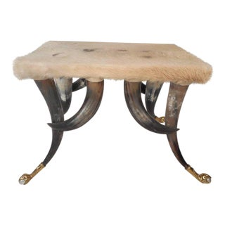 Mid-Century Modern Cowhide and Horn Ottoman