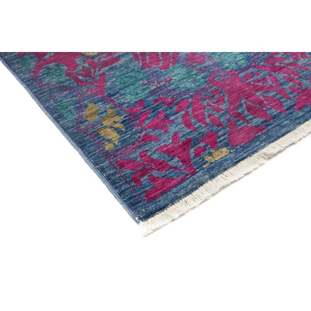 Arts & Crafts Hand Knotted Blue & Pink Wool Runner Rug