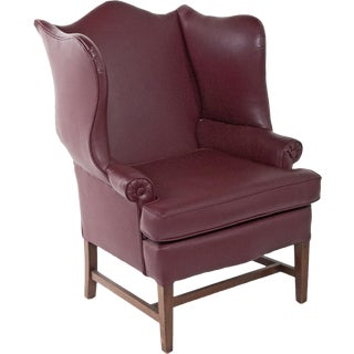 English Vinyl Wingback Arm Chair