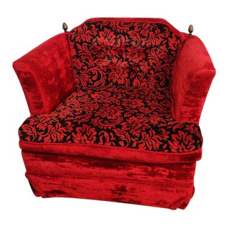 Kroehler Mid-Century Red & Black Velvet Club Chair