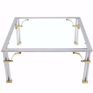 Maison Jansen Style Chrome & Brass Cocktail Table