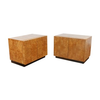 Milo Baughman Burl Wood Nightstands - A Pair