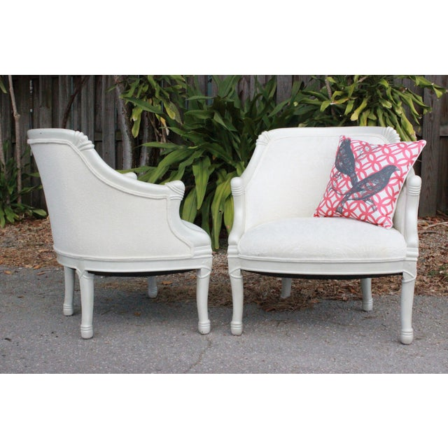 Vintage Pearl Damask Chairs - A Pair - Image 3 of 10