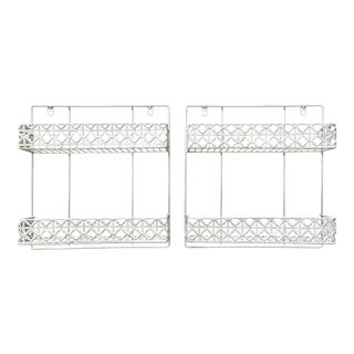 Anthropologie White Metal Decorative Wall Racks- A Pair