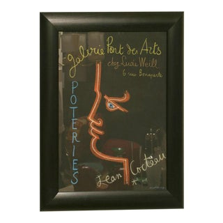 Vintage Original Jean Cocteau Stone Lithograph Exhibition Poster Custom Framed