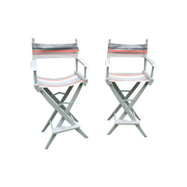 Gray and Orange Striped Director's Chairs - A Pair - Image 1 of 10