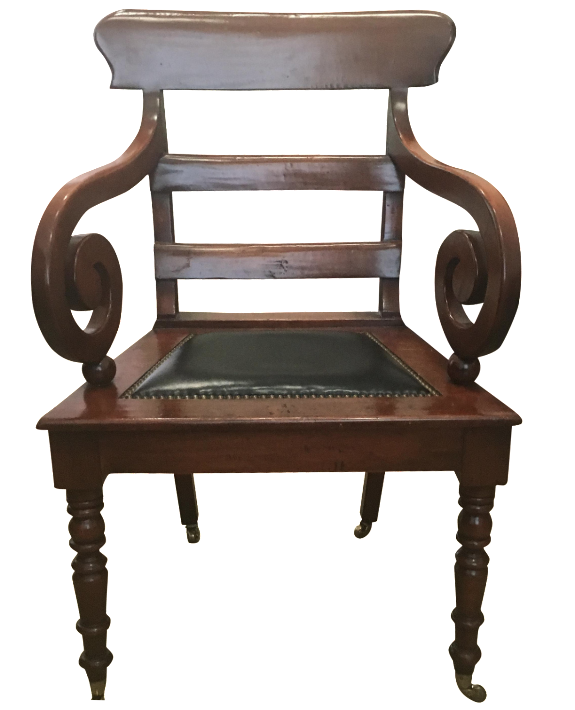 Waldo Antique Desk Chair with Casters