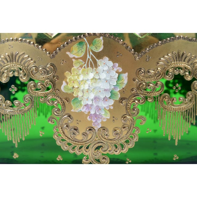 Moser Bohemian Emerald Green Glass Centerpiece - Image 3 of 9