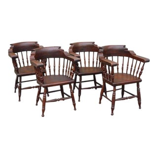 Amazing 19thc Set of Four Firehouse Windsor Captains Chairs