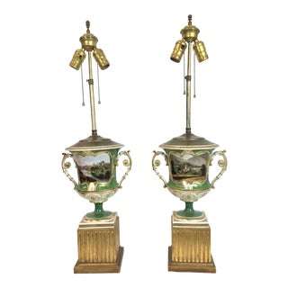 Old Paris Porcelain Lamps - A Pair