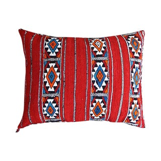 Blue & Orange Diamonds Moroccan Pillow