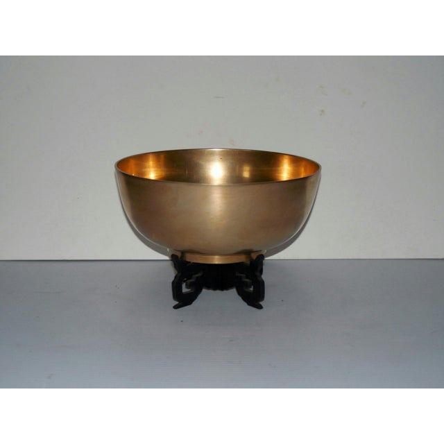 Image of Burnished Brass Bowl & Fitted Stand