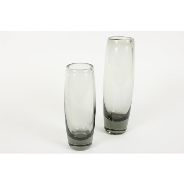Image of Holmegaard Smoke Glass Rondo Vases - A Pair