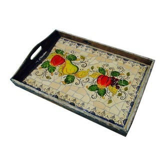 French Farm Wood Picnic Tray with Mosaic Tile