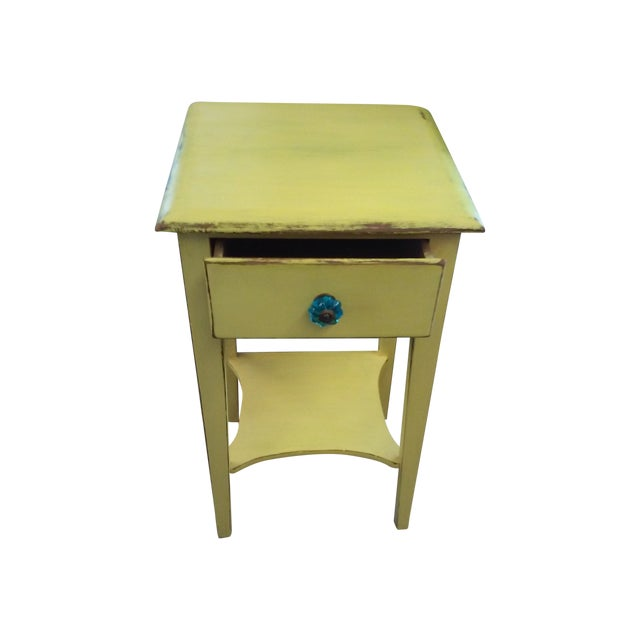 Image of Yellow Shabby Chic Vintage End Table
