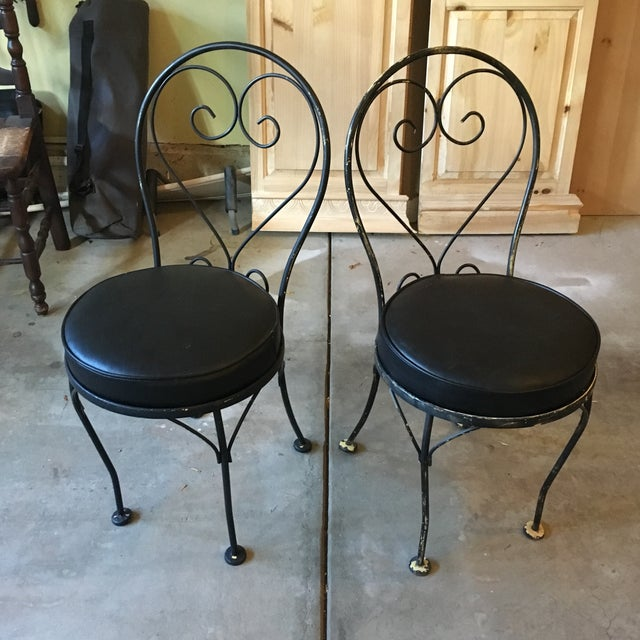 Mid-Century Wrought Iron Bistro Chairs - A Pair - Image 3 of 3