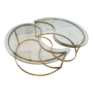 Hollywood Regency Brass & Glass Yin Yang Tables - A Pair